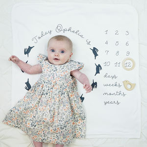 Personalised Baby Age Bunny Rabbit Blanket - blankets, comforters & throws