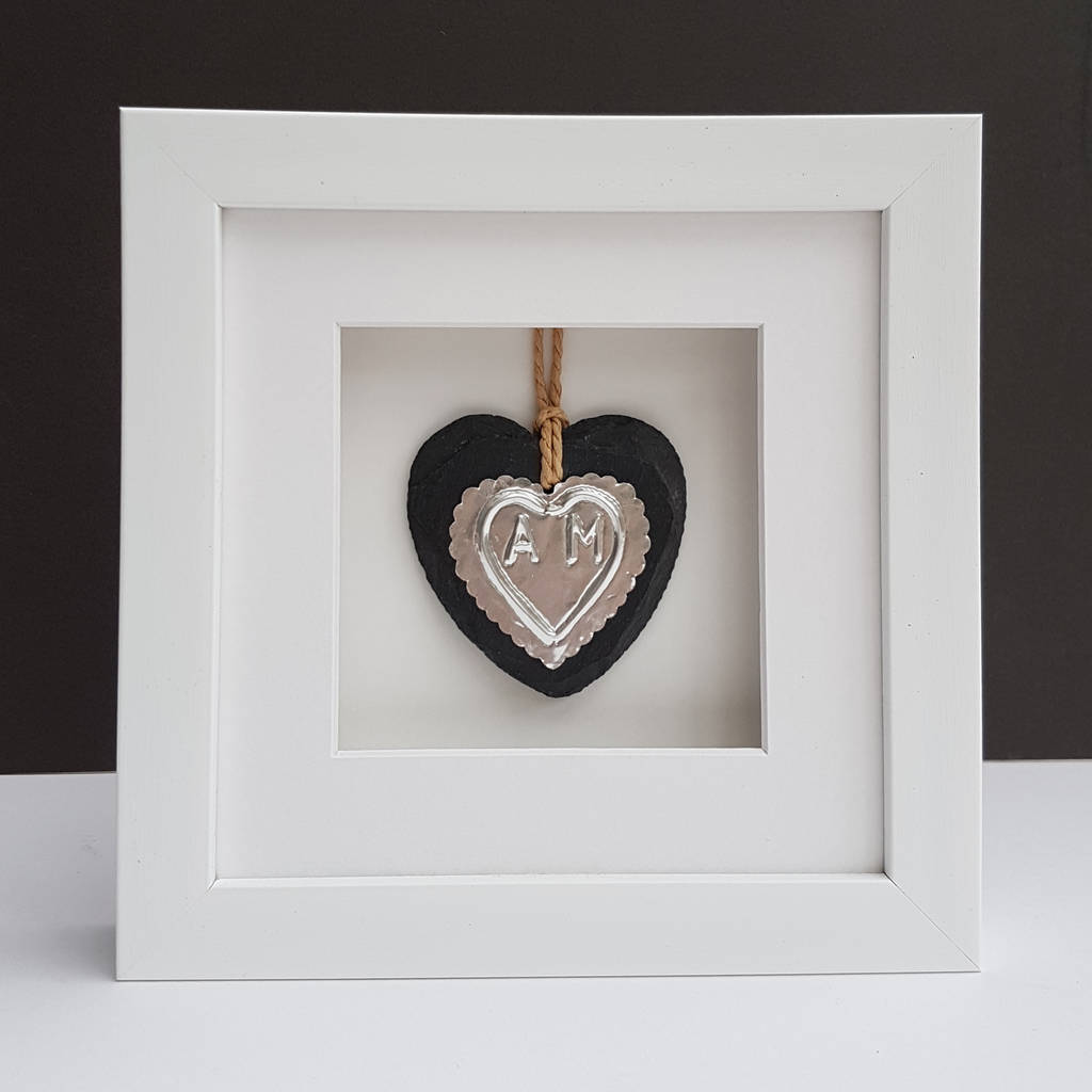 Silver Wedding Anniversary Slate Heart