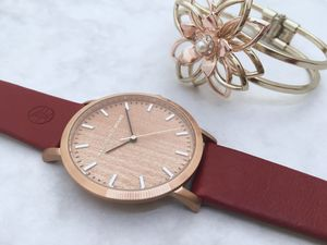 Classic Rose Gold Red Vintage Unisex Wood Watch - men's accessories
