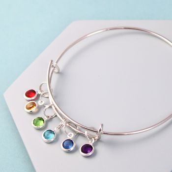 Personalised Birthstone Silver Bangle