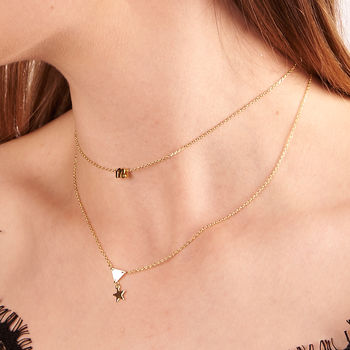 Tiny Initial Multi Row Necklace