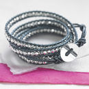 Metallic Leather Wrap Bracelet