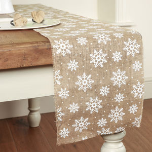 Christmas Crafts Jute Snowflake Table Runner - table decorations