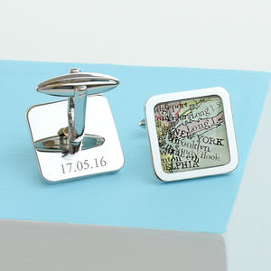 Personalised Square Map Location Cufflinks - weddings sale