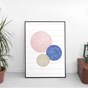 Three Moons Abstract Giclée Art Print - summer home