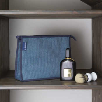 Toiletries Bag, Wash Bag In Herringbone