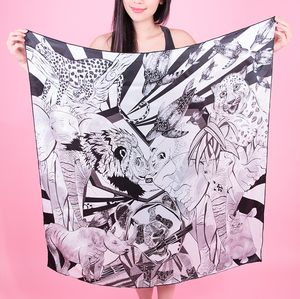 Black And White Silk Scarf - scarves