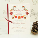 Autumn Wedding Order Of Service A5 Booklet