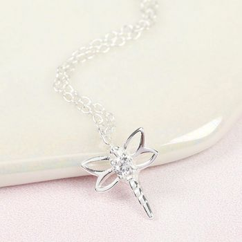 Sterling Silver Cubic Zirconia Dragonfly Necklace