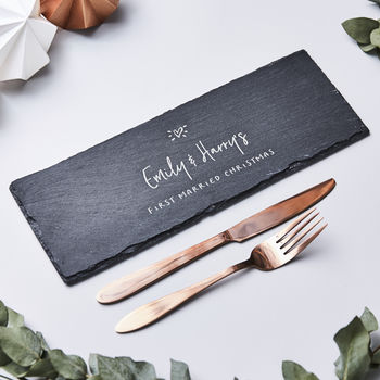 Slate Personalised Christmas Serving Board