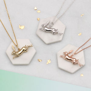 Personalised Hare Necklace In Sterling Silver Or Gold