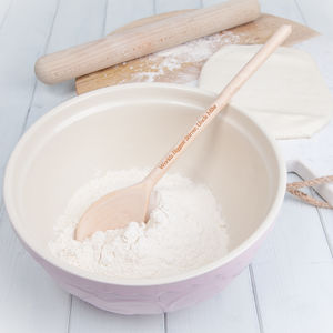 Ceramic Mixing Bowl With Personalised Wooden Spoon