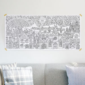 Nordic Houses Colouring Poster / Advent Calendar - posters & prints