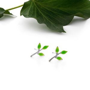 Green Leaf Sprig Earrings - earrings