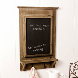 Wooden Chalkboard With Storage Hooks