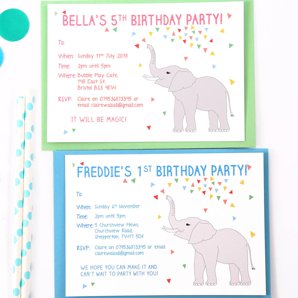 personalised elephant birthday party invitations by superfumi ...
