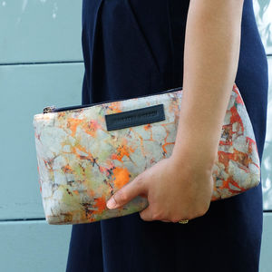 Toiletry Bag With Abstract Orange Pattern