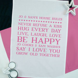 Personalised Couples House Rules Tea Towel