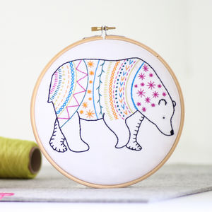 Bear Contemporary Embroidery Craft Kit - craft-lover