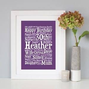 Personalised 30th Birthday Word Art Gift - shop by subject