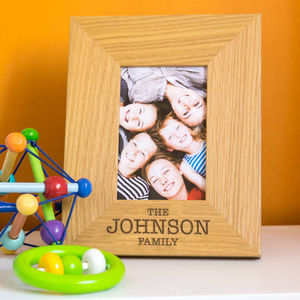 Personalised Family Name Engraved Oak Picture Frame - more