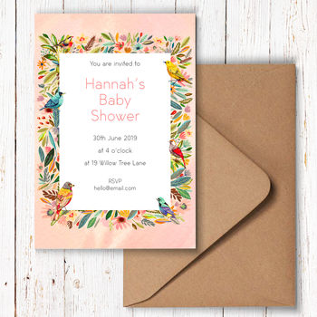 Summer Flower And Bird Party Invitations