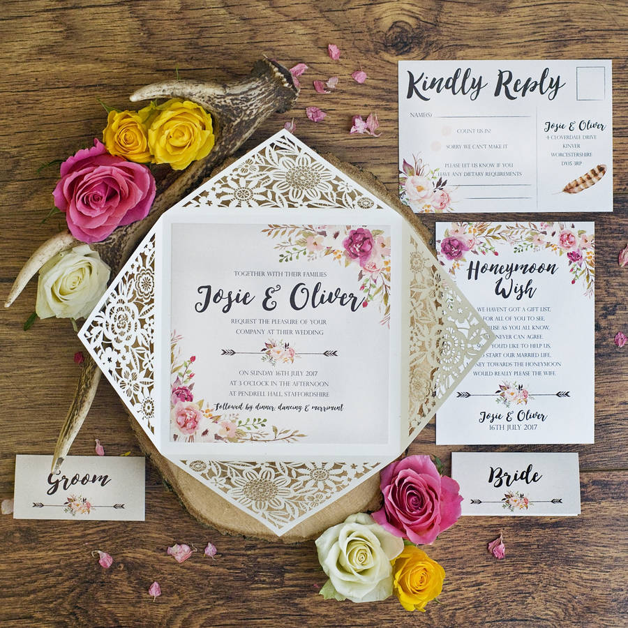 peony floral design laser cut wedding invitation by peach wolfe