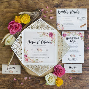 Peony Floral Design Laser Cut Wedding Invitation - invitations