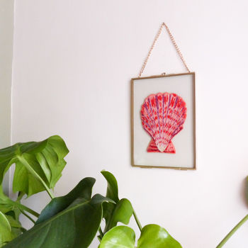 Pink Scallop Shell Gold Framed Embroidery Art