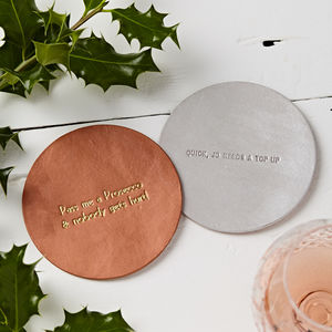 Personalised Metallic Coaster - housewarming gifts
