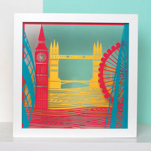 Framed London Landmark Papercut Art