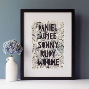 Personalised Family Monochrome Florals Papercut Print - nature & landscape