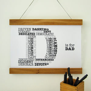 D Is For Dad Personalised Print - family & home