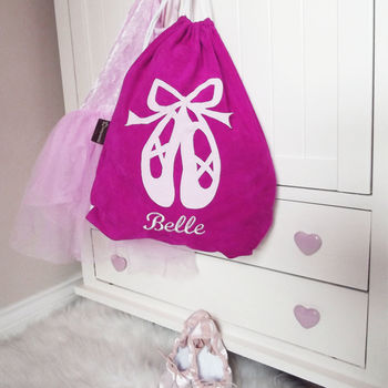 Personalised Pink Ballet Dance Bag Ballet Shoe Design
