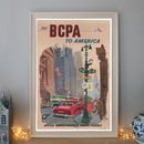 Vintage Fly Bcpa To America Mid Century Travel Poster
