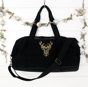 Gold And Black Monogram Stag Winter Holdall