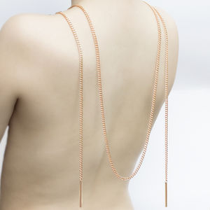 Double Bar Chain Links Rose Gold Necklace - necklaces & pendants