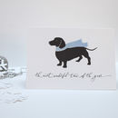 Dachshund Dog In Scarf Christmas Card