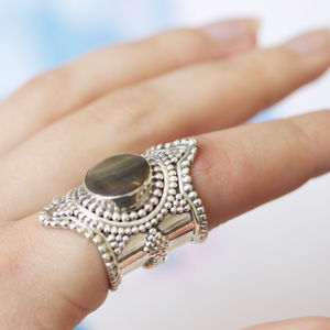 Sterling Silver Dotted Black Mother Of Pearl Ring - rings