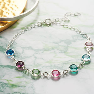 Family Birthstone Link Bracelet - summer sale