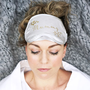Personalised Botanical Mummy Silk Eye Mask - bedroom