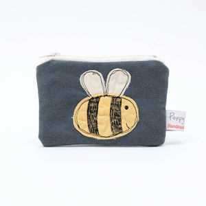 Busy Bee Embroidered Small Zip Coin Purse