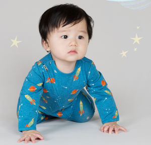 Space Rocket Zip Babygrow - winter sale