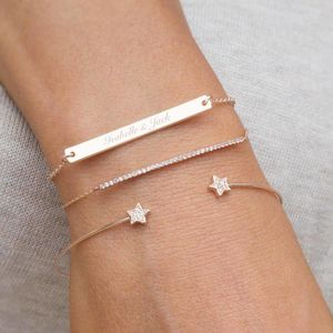 Personalised Perri Bar Bracelet Set - minimal jewellery