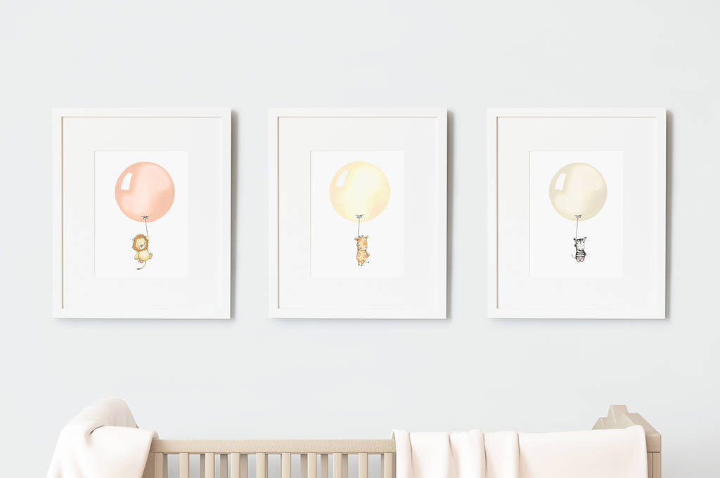 Set of three safari balloon nursery prints