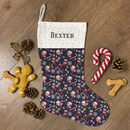 Personalised Dog Breed Christmas Stocking In Navy