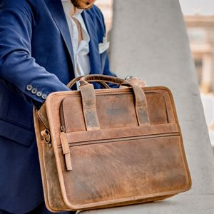 Leather Laptop Briefcase Bag - laptop bags & cases