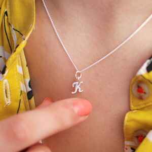 Sterling Silver Script Mini Initial Letter Necklace