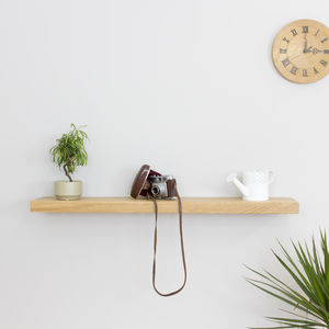 Square Edge Solid Oak Floating Wall Shelf - shelves