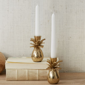 Pair Of Gold Pineapple Candle Holders - kitchen